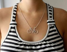 Items similar to Bike Love- Handmade Sterling Silver Necklace by Rachel Pfeffer on Etsy Handmade Sterling Silver, Sterling Silver Necklaces, Popular Necklaces, Unique Necklaces, Cute Necklace, Dieselpunk, Fashion Accessories, Fashion Jewelry, Stylish