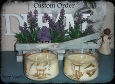 These gorgeous Japanese themed bowls were a Custom Order and were filled with the delicious Very Vanilla.  #dreamcandles4740