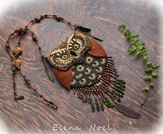 RESERVED Owl  embroidered little purse on the neck  от ElenNoel