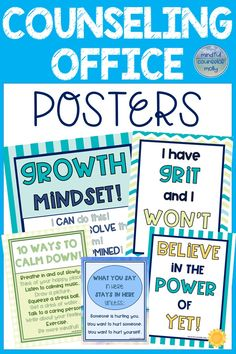This counseling office decor set includes 8 posters! Posters includes confidentiality, group rules, ways to calm down, believing in the power of yet, grit, growth mindset, kindness, and treating others with respect. #schoolcounseling #posters #growthmindset #grit #copingstrategies Counseling Bulletin Boards, School Counseling Office, Elementary Counseling, Counseling Activities, Primary Education, School Leadership, Educational Leadership, Educational Technology, Group Rules