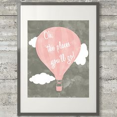 Oh The Places You'll Go Printable Nursery Playroom Poster in Blush Pink and Charcoal Grey