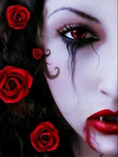 Flowers into a vampire's hair. Incredeble beautiful