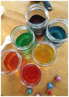 Rainbow Sugar Water Density Water Glasses Set Up Color Sugar