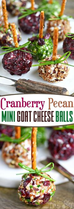 Cranberry Pecan Mini Goat Cheese Balls! Holiday entertaining has never been easier or more delicious! So easy to make and gorgeous too! Perfect for Thanksgiving, Christmas, and New Year's! (Can be made in advance!) // Mom On Timeout