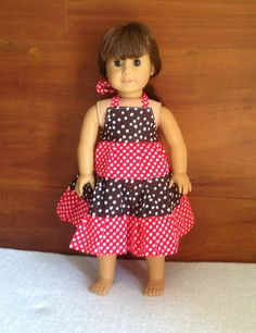 Tiered Dress for American Dolls, Doll Dress Pattern, Sewing Pattern Doll Dress Doll Dress Patterns, Sewing Patterns For Kids, Pattern Sewing, Trendy Dresses, Simple Dresses, American Dolls, American Girl, Dresses Kids Girl, Tiered Dress