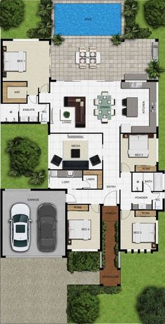 house plans one story ; house plans with wrap around porch ; house plans with in law suite ; house plans with basement Sims House Plans, House Layout Plans, New House Plans, Dream House Plans, Modern House Plans, Small House Plans, House Layouts, House Floor Plans, Modern Floor Plans