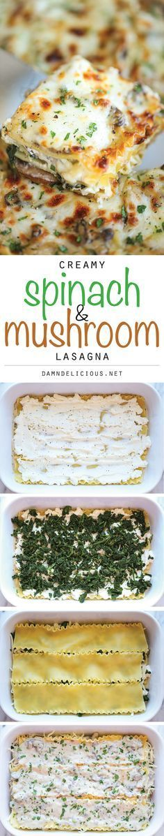 Creamy Spinach and Mushroom Lasagna - This is sure to become a family favorite. Best of all, its freezer-friendly and can also be made ahead of time!