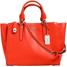 Coach Crosby Carryall Leather Bag , Orange (690 CAD) ❤ liked on Polyvore featuring bags, handbags, orange, man bag, orange leather handbag, leather man bag, genuine leather handbags and orange leather purse