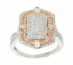 AffinityDiamond 1.00 ct tw Round and Baguette Wave Ring, 14K Gold