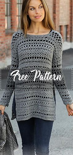 Sweater Grey Sparrow – Free Pattern Related posts: Kimono Sweater Free Knitting Pattern Chunky Sweater Free Crochet Pattern FREE PATTERN ALERT: Free Beginner Projects to sew with your kids! 70 Trendy Diy Clothes For Teens Step By Step Free Pattern Pull Crochet, Gilet Crochet, Crochet Diy, Crochet Jacket, Crochet Woman, Crochet Shawl, Crochet Tops, Crochet Jumper Free Pattern, Crochet Cardigan Pattern Free Women