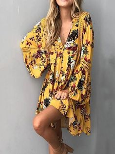 Yellow Floral Flared Sleeves V-neck Mini Dress – oshoplive