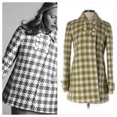 HP J Crew Houndstooth Coat Beautiful & trendy houndstooth coat in white & green print. Beautiful ivory buttons. In great preloved condition! No tears in lining or coat. 70% wool 30% polyester - dry clean.  host pick winter wish list party 1.31.2016 J. Crew Jackets & Coats