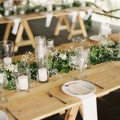 Beautiful, simple gyp and greens centerpiece