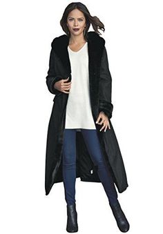 """Product review for Roamans Women's Plus Size Faux Fur Lined Raincoat.  - A stylish raincoat with a faux fur lining. A-line silhouette shawl collar with hood 3 button front closure long sleeves with cuffs 2 flap pockets at hip faux fur lining along edges water-repellent exterior polyfill hem drops to about 48"""" polyester, machine wash, imported In Style Now!A... #RaincoatsForWomenLongSleeve"""
