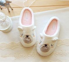 Cute Animal Cartoon Women Winter Home Slippers For Indoor Bedroom House Plush Soft Bottom Cotton Shoes Adult Flats Christmas