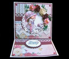 Easel card with Morehead decoupage design - Romayne