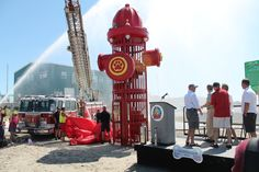Fire Hydrant sculpture Constructed from recycled parts of an old Morey's amusement ride, the public art project was designed and built by architect Rich Stokes and Morey's Piers' artBOX resident artists, David Macomber, and the father and son team of Peter J. Bieling and Pete C. Bieling.