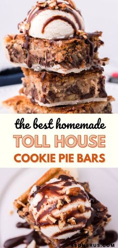 Toll House cookie pie bars take the classic cookie recipe and uses it as pie filling. This yummy dessert bar recipe is a surefire way to satisfy any sweet tooth! #cookies #dessert #recipe