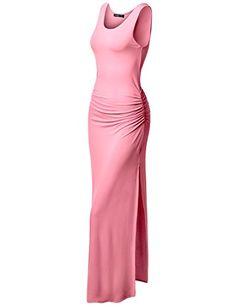 Thanth Womens Sleeveless Side Shirring Summer Maxi Long Dress Pink M