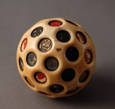 Ivory Gambling Ball -Teetotum (1700 to 1900 England) Engraved with two Crowns and the letter 'P' for fail.