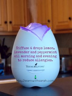 Diffuse 4 drops lemon, peppermint & lavender twice a day to help with allergies   Play 2 Learn with Sarah