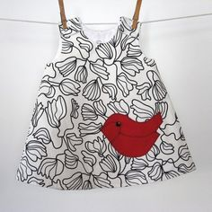 love the black and white w/sweet little red bird!  Darling sun dress --but will use these color ideas with bird design on other items, as well!  Great inspiration
