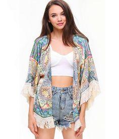 Multicolor Floral Fringed Kimono