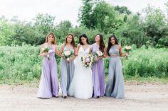 Lily and David by Cari Zhu - Bridesmaids in @henkaa Dove Grey and Dusty Purple Sakura Convertible Dresses