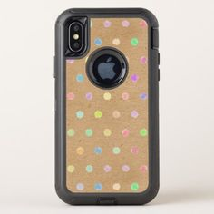 Colorful Polka Dots On Faux Kraft Paper Background OtterBox Defender iPhone X Case - vintage gifts retro ideas cyo