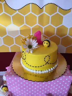 Adorable cake at a bumble bee birthday party! See more party planning ideas at CatchMyParty.com!