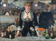 Édouard Manet, 'A Bar at the Folies-Bergère', 1882 (Courtauld Gallery). The barmaids at this fashionable Parisian café-concert hall were described as 'vendors of drink and of love'. Manet was an acute observer of modern life and this painting, with its distorted reflection, purposefully asks more questions than it answers. The barmaid's enigmatic expression is detached from the bustle of the bar. She stares at the viewer, but the mirror shows her facing a customer.