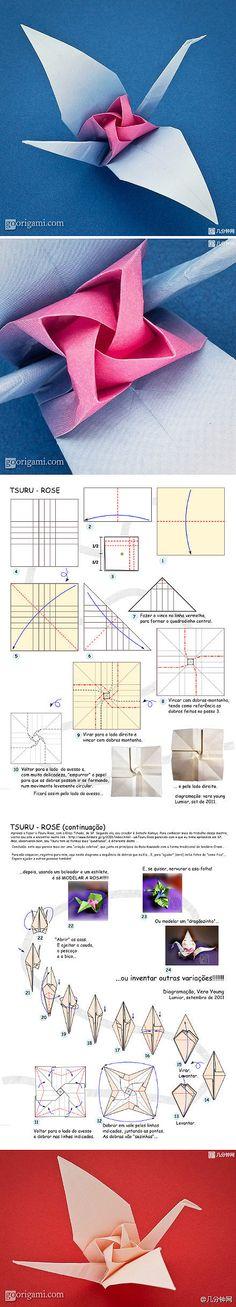 Origami tutorials, paper-cut art ... Rose cranes
