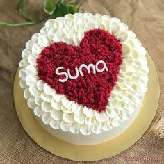 Happy Birthday Cake For Lover with Name Happy Birthday Cake Writing, Heart Birthday Cake, Birthday Cake For Boyfriend, Happy Birthday Wishes Cake, Girlfriend Birthday, Birthday Msgs, Flower Birthday, Birthday Quotes, Cake Decorating Designs