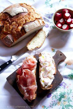 """""""La tartina suprema"""" - culatello, robiola cheese and radish open sandwich"""