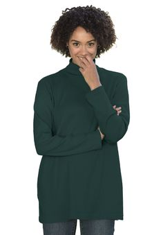 Here's a plus size pullover tee with a turtleneck collar and a stylish rib knit texture. Designed to be naturally stretchable without the use of spandex, this sweater goes a long way in both style and comfort, and is sure to become a regular in your wardrobe rotation! #fashion #style