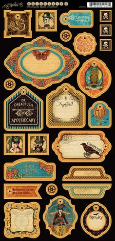 Graphic 45 - Steampunk Spells Collection - Chipboard Tags 2