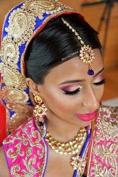 Pink + purple shadows inspired by a sunset. Curacao beach bride, destination Indian wedding, @soniacmakeup