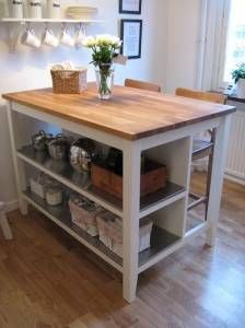 Put two shelves of equal height together. Add butcher block on top. Bam! You have an island.