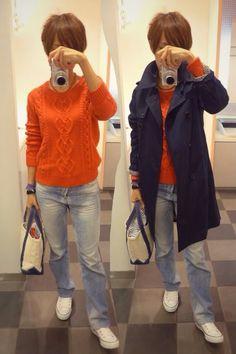 トレンチを使ったフレンチカジュアル風  ※フレンチカジュアル 「フランス人、特にパリジェンヌの日常着、そのカジュアルなスタイルを言う。 流行を適度に取り入れた知的で個性的なスタイルを特徴とする。」だそうです。  Coat/IENA SLOBE Knit/GAP Bottoms/MACPEE Bag/L.L.Bean Shoes/CONVERSE  It is the denim style today.