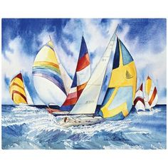 Magic Slice Sailboats by Kathleen Parr McKenna Non-Slip Flexible Cutting Board Custom Cutting Boards, Personalized Cutting Board, Glass Cutting Board, Carving Board, Kitchen Tools And Gadgets, Acrylic Art, Art Lessons, Sailboats, Magic