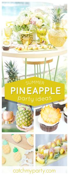 Don't miss this gorgeous Summer Pineapple Garden Party! The cupcakes looks delicious!! See more party ideas and share yours at CatchMyParty.com