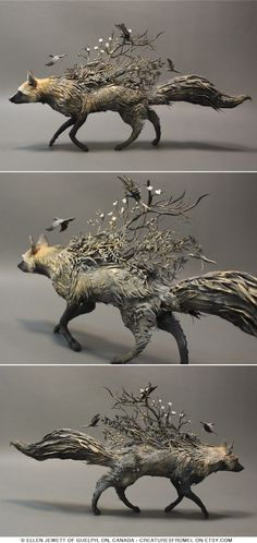 Silver Fox with Crows - original handmade OOAK sculpture; approximately 14x3x7.5 inches; Materials: mixed media, cold porcelain, air dry clay, glass, metal, acrylic paint | Artist:  © Ellen Jewett of Guelph, ON, Canada  |  via creaturesfromel on etsy.com