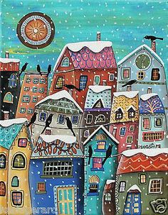 Snow Storm 11x14 Houses Birds Winter ORIGINAL Canvas PAINTING FOLK ART Karla G..Brand new painting, now for sale..
