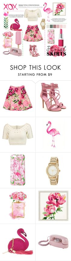 """Flamingo & Floral"" by missmodel13 ❤ liked on Polyvore featuring Love Moschino, Hervé Léger, Lilly Pulitzer, DKNY, GALA, Chanel, Pottery Barn, Skinnydip, Dot & Bo and Clinique"