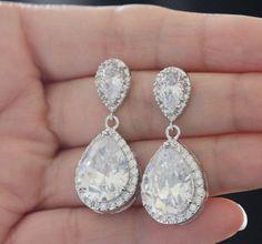 clear ab bridal earring  bridal drop earring    cz by arbjewelry, $32.00