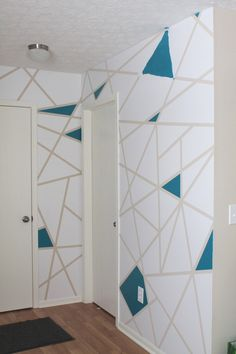 Bedroom Paint Design, Bedroom Wall Designs, Bedroom Ideas, Painters Tape Design, Simple Wall Paintings, Tape Wall Art, Geometric Wall Paint, Wall Paint Patterns, Bathroom Accent Wall