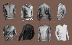 A study in sweaters by Spectrum-VII sweaters closed solid over the head front back detail shading references Drawing Practice, Drawing Poses, Figure Drawing, Drawing Reference, Clothing Sketches, Fashion Sketches, Art Sketches, Drawing Studies, Art Studies