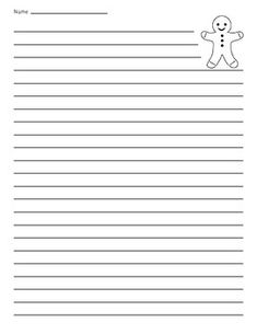 Gingerbread Man Lined Paper - Great for writing about the holidays.Gingerbread Man Primary Lined Paper. Notebook Paper Printable, Printable Paper, Easel Activities, Student Data, School Events, Gingerbread Man, Teacher Newsletter, Holidays, Holidays Events