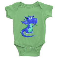 Draco Blue Green Infant short sleeve one-piece