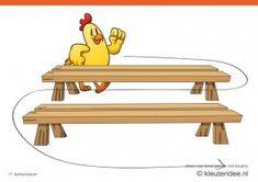Bewegingskaarten kip voor kleuters 17, bankenslalom , kleuteridee.nl , thema Lente, Movementcards for preschool,  free printable.